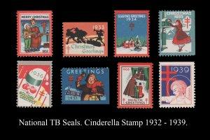 USA CINDERELLA STAMP COLLECTION TB SEALS 1932 - 1939. MINT