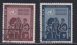 United Nations - New York # 15-16, Refugee Family, Used, 1/3 Cat.