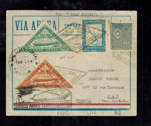 1932 Paraguay Graf Zeppelin Cover to Pau France  LZ 127