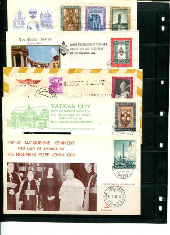 Vatican 1962 - 10 FDC , cards  unaddressed VF