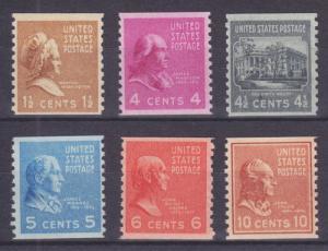 US Sc 840/847 MNH. 1939 Prexie Coil Singles (6) F-VF