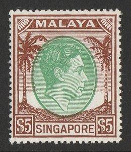 SINGAPORE : 1948 KGVI Palm Trees $5, perf 17½x18. MNH **. Key stamp.