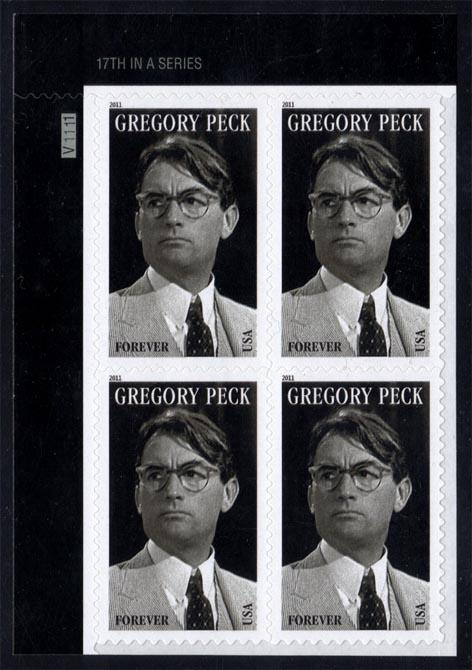US #4526 Gregory Peck P# Block of 4; MNH (4.00)