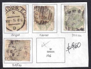 GREAT BRITAIN SC 103//107 COLLECTION LOT $960 SCV PREMIUM CANCELS NOT COUNTED