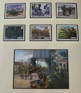 JE57) Jersey 2014 WWII D-Day set of 6 & M/S MUH