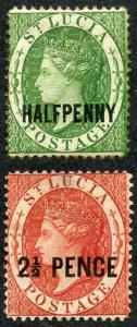 St Lucia SG23/24 1881 QV Set of Two with Opt (Type T3) P14 M/M