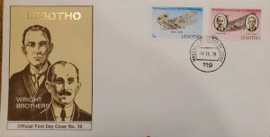 J) 1978 LESOTHO, AIRPLANE, WRIGHT BROTHERS, MULTIPLE STAMPS, FDC