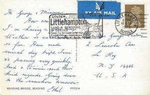 Littlehampton, Sussex, Great Britain Post Card 1973, Fancy Cancel, Bridge