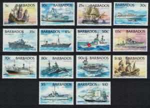Barbados Ships Warships 14v Without imprint SG#1029A-1042A