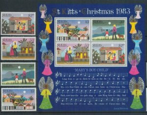 78386 - ST KITTS stamps - 1983 XMAS music SET + S/S -  MNH Overprinted SPECIMEN