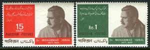 Pakistan 236-237, MNH. Mohammad Iqbal, poet, philosopher, 90th birth anniv. 1967