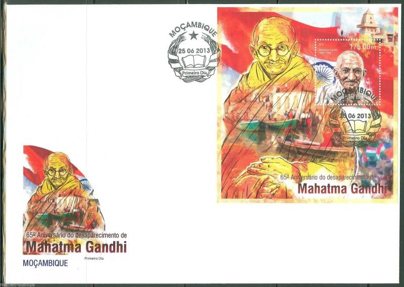 MOZAMBIQUE  2013 65th MEMORIAL ANNIVERSARY GANDHI  S/SHEET FIRST DAY COVER