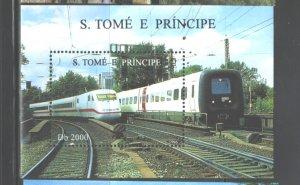 S TOME E PRINCIPE   1996  TRAINS  M.S.. #1285   MNH