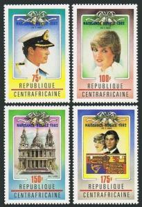 Central Africa 529-533,MNH.Michel 870-873,Bl.210. Birth of Prince William,1982