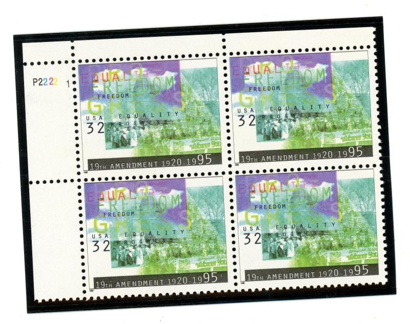 US  2980  19th Amendment 32c - Plate Block of 4 - MNH - 1995 - P2222-1  UR