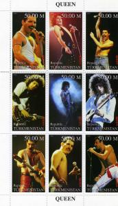 Turkmenistan 1999 Freddie Mercury Queen Sheet Perforated mnh.vf