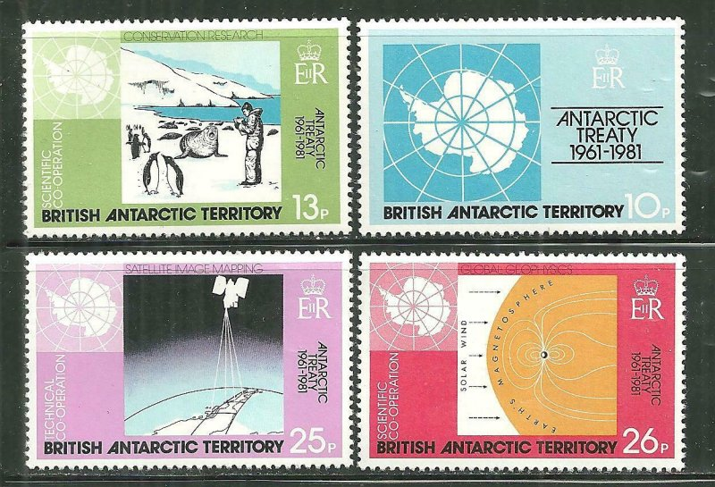 British Antarctic Territory. MNH 88-91 Continental Drift & Climate Change