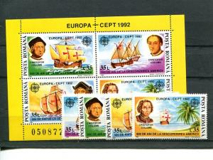 Romania 1992 Europa Mint VF NH shet and set . - Lakeshore Philatelics