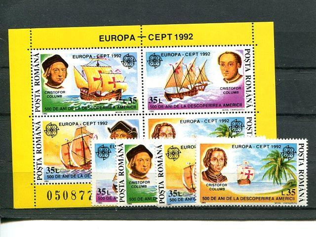 Romania 1992 Europa Mint VF NH shet and set . - Lakeshore Philatelics
