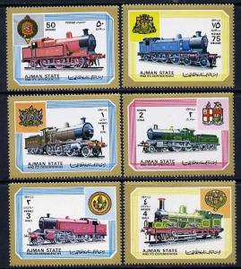 Ajman MNH 1850-5 Locomotives 1972