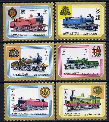 Ajman MNH 1850-5 Locomotives 1972