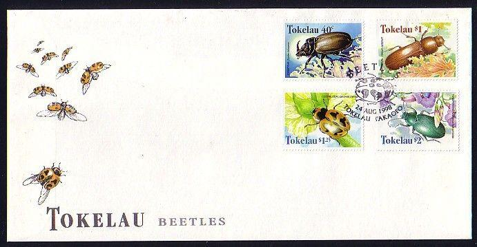 Tokelau, Scott cat. 255-258. Beetle`s issue on a First day cover.