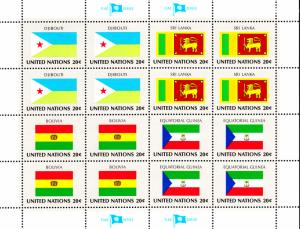 United Nations #350-#353 1981 Flag Miniature Sheet of 16
