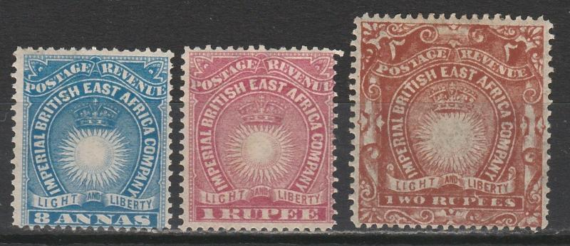 BRITISH EAST AFRICA 1890 LIGHT AND LIBERTY 8A 1R AND 2R