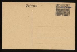 SAARGEBIET GERMANY 10c ON 30 PF UNUSED POSTAL STATIONERY CARD
