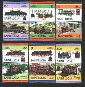 St Lucia. 1984. 672-83. trains. MNH.