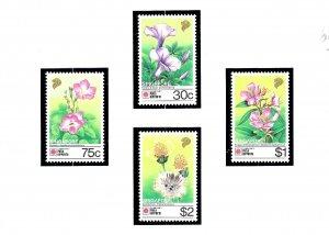 Singapore 611-14 MNH 1991 Flowers     (KA)
