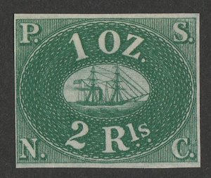 PERU : 1857 Pacific Steam Navigation Co 2R green, unissued. Only 800 printed.