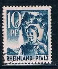Germany Rheinland Pfalz 6N3: 10pf Carrying Grapes, used, VF