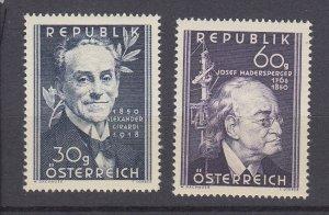 J29522, 1950 austria part of set mh #568, 571 famous people