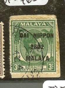 MALAYA(P2010B)JAPANESE OCCUPATION STRAITS DN 3C SGJ225  VFU