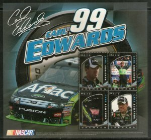 Grenada CARL EDWARDS American Race Car Driver Sheet Perforated Mint (NH)
