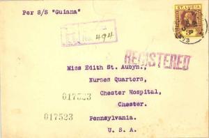 Saint Lucia 3d KGV 1919 Castries, St. Lucia Registered to Chester, Penn.  Ins...