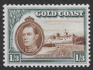 Gold Coast 1/3 KGVI Christiansborg Castle issue of 1938, Scott 124 MH