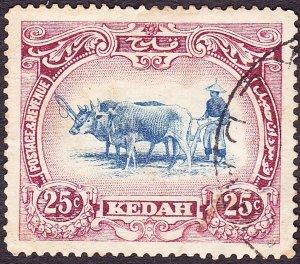 MALAYA KEDAH 1921 25c Blue & Purple SG33 Used