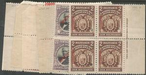 Bolivia 1901-4 Imprint Blocks of 4 Ex-archives SC 70-6 MNH (6cgv)