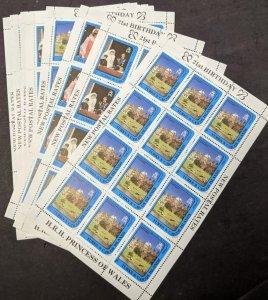 EDW1949SELL : TURKS & CAICOS 1982 Princess Diana 3 Cplt sets of Shtlt., Cat $224