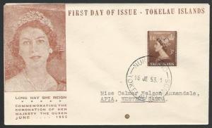 TOKELAU IS 1953 Coronation FDC NUKUNONO cds................................11491