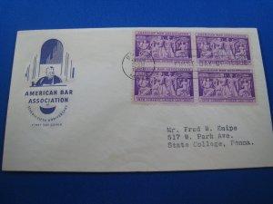 U.S. 1953 - SCOTT #1022  Blk4   FDC