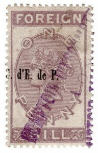 (I.B) QV Revenue : Foreign Bill 3d (1881) Paris Bank pre-cancel