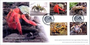 BIOT 2020 stamps. - Crustacean 5 stamps. First day cover