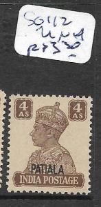 INDIA PATIALA (PP1702B)  KGVI 4A  SG 112 MNH