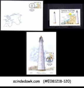 ESTONIA - 2015 TAHKUNNA LIGHTHOUSE SET OF 1-FDC, 1-STAMP & 1 MAXI CARD