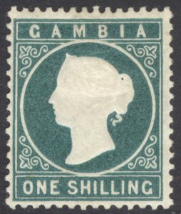 Gambia 1880 1s Green(Dp) Wmk Crown CC Up SG 19B Scott 11 MM/MH Cat £275($360)