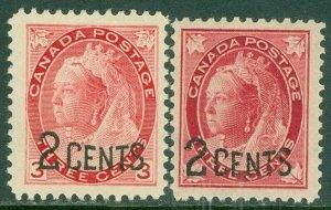 EDW1949SELL : CANADA 1899 Scott #87-88 Very Fine, Mint Original Gum LH. Cat $50.