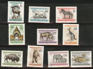 HUNGARY MAGYAR  Scott 1346-55 MNH** 1961 Zoo Animal set